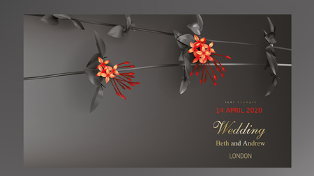 Tropical black leaves liana twig on dark background vector. Botanical design with jungle creeper plant stem, exotic red flower and gold inscription. Wedding ceremony invitation card, holiday sale