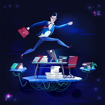 Business - running overcoming obstacles, concept vector cartoon illustration. Businessman in office suit with briefcase in hand runs and jumps over desktop with computer, in purple neon color