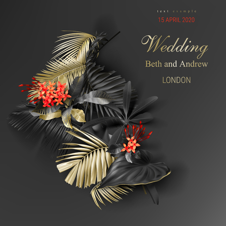 Tropical black and gold leaves on dark background vector poster Beautiful botanical design with golden tropic jungle palm leaves, exotic red flower Wedding ceremony invitation card, christmas greeting Ilustrace
