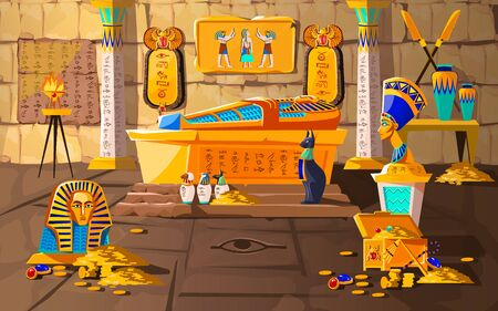 Ancient Egypt tomb of pharaoh cartoons vector illustration. Egyptian pyramid interior with golden sarcophagus, hieroglyphs and mural, scarab beetles, ritual vases and other religious symbols, treasure Фото со стока - 126670141