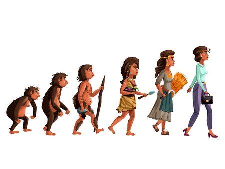 Woman evolution vector cartoon illustration concept. Female development process from monkey, erectus primate Australopithecus, hunter and gatherer of Stone Age, farmer to modern fashion woman