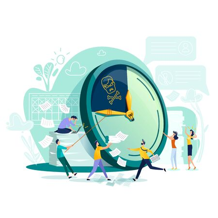 Deadline and time management business concept vector. Large watches and hurried workers pulling clock hand using rope, trying to stop or slow down time, fast teamwork flat illustration Ilustração