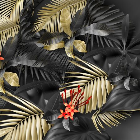 Tropical black and gold leaves on dark vector background. Beautiful botanical design with golden tropic jungle palm leaves, exotic red flower Exotic design for vintage flyer banner with floral pattern