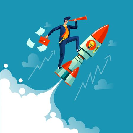 Businessman flying on rocket on background of sky, clouds and growth arrows, business concept cartoon vector. Successful leader with spyglass and briefcase in hands flies on speed spaceship, startup