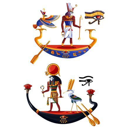 Ancient Egypt sun god Ra or Horus cartoon vector illustration. Egyptian culture religious symbols, ancient god-falcon in night and day boats, sacred birds, isolated on white background 일러스트