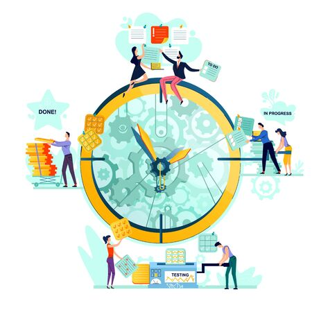 Deadline, time management, teamwork and business mechanisms concept vector. Large watches with gears and workers with task cards from to do to done. Hidden mechanisms and gears of business processes