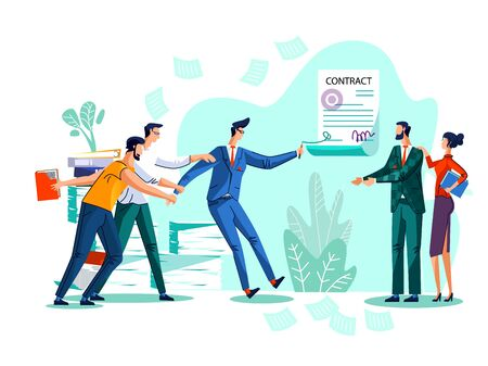 Contract conclusion and teamwork business concept vector illustration. Businessman wants to sign bad contract, his team prevents him from doing so and drags him by hand