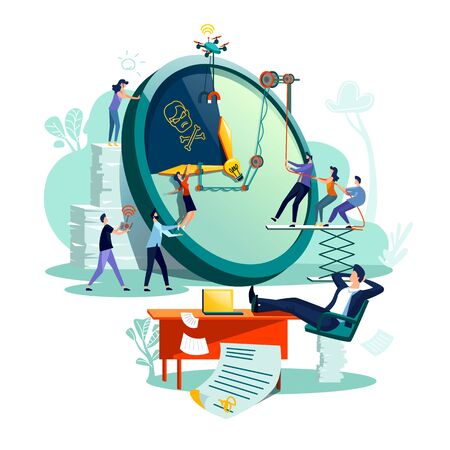 Deadline time management business concept vector. Large watches and hurried workers pulling clock hand using rope pulley or block system, trying to stop or slow down time, teamwork and watching boss