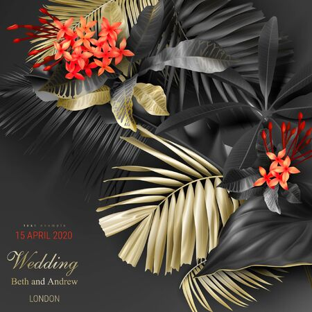 Tropical black and gold leaves on dark background vector poster Beautiful botanical design with golden tropic jungle palm leaves, exotic red flower Wedding ceremony invitation card, christmas greeting Illustration