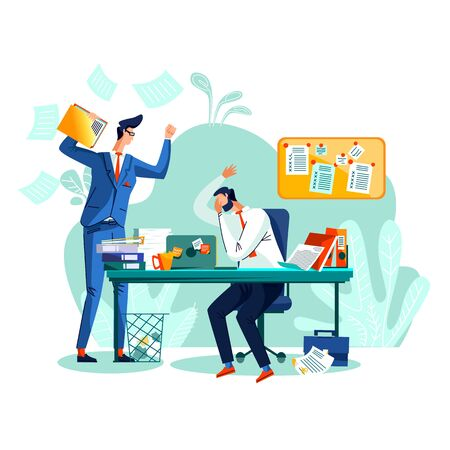 Deadline and time management business concept vector. Tired of stress worker who did not complete the task at time, isitting at his desk and covering face with hand, and angry boss screaming at him