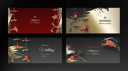 Tropical black gold leaves on dark background vector poster set. Beautiful botanical design with golden tropic jungle leaves, exotic red flower ixora Wedding ceremony invitation card, holiday sale