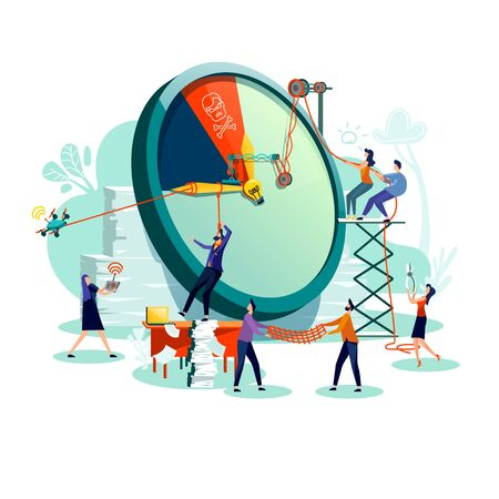 Deadline and time management business concept vector. Large watches and hurried workers pulling clock hand using rope pulley or block system, trying stop or slow down time, teamwork flat illustration