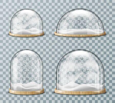 Dôme en verre avec vecteur réaliste de neige. Dôme rond en verre de différentes formes avec plaque de bois clair et flocons de neige blancs tombant, isolés sur fond transparent. Souvenir de Noël Vecteurs