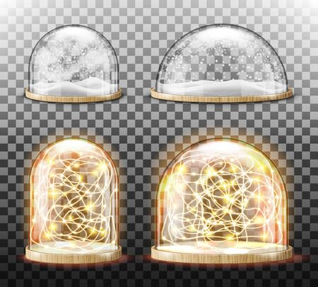 Glass dome with snow and light garland realistic vector. Glass round dome with light wood plate and white falling snowflakes, isolated on transparent background. Holiday interior decoration, souvenir