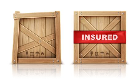 Wooden box closed by metal nails, damaged and with insurance realistic vector illustration Wooden cargo box, broken or cracked package and parcel with insured inscription, isolated on white background