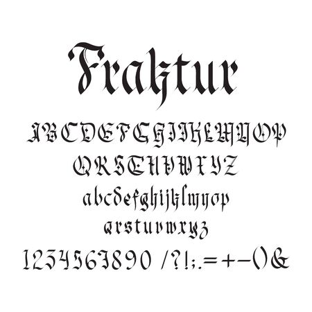 Vintage gothic font vector illustration. Set of unique decorative black capitals and lowercase calligraphic alphabet letters, numbers, symbols and signs on white background. Latin type medieval design