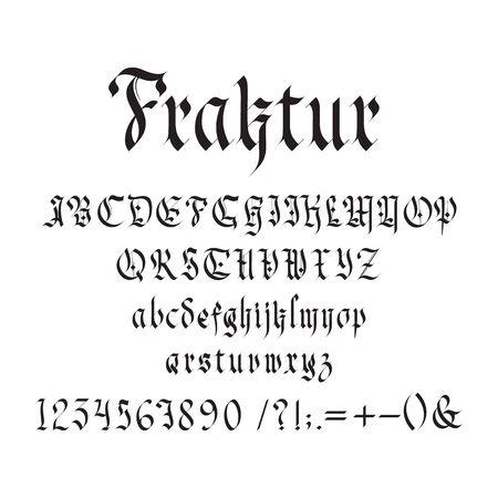 Vintage gotische Schriftart-Vektor-Illustration. Set aus einzigartigen dekorativen schwarzen Großbuchstaben und kalligraphischen Kleinbuchstaben, Zahlen, Symbolen und Zeichen auf weißem Hintergrund. Mittelalterliches Design lateinischer Art