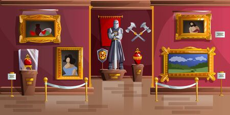 Museum exhibition room cartoon vector illustration. Palace interior, art gallery of medieval castle, empty hall with ancient portraits, knight armor statue and ancient weapons on wall, game background Illusztráció