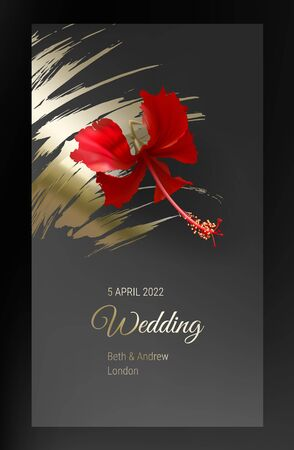 Tropical red hibiscus flower on dark black and gold background vector. Beautiful botanical design with exotic tropic jungle plant and golden paint smear. Wedding invitation card, holiday sale