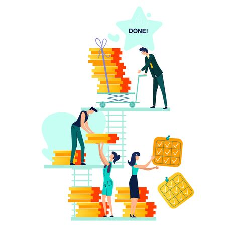 Deadline, time management and teamwork business vector. Company workers,men and women hold in hand to do task card or schedule, carrying them on push cart and put in section Done, isolated on white