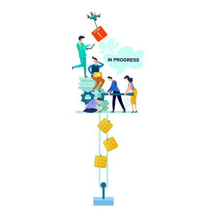 In progress business concept vector illustration. Teamwork, men and woman, employees looking for solution to problem, rotate handle of mechanism, set in motion business gear and process to do cards