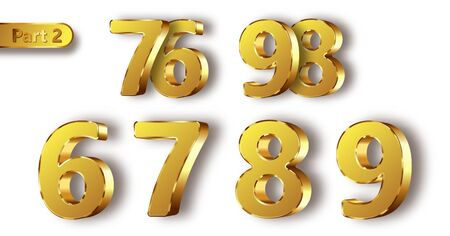 Golden metal unique numbers set of realistic vector illustration. Matte with glossy frame gold metal symbols or signs from 6 to 9, isolated on white background Ilustração