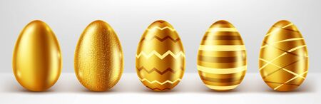 Golden eggs realistic vector set illustration. Shining Easter eggs from gold metal decorated with elegant pattern, festive gift with shadow isolated on white background