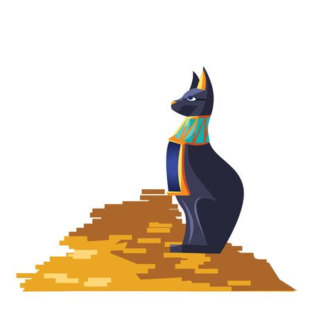 Ancient Egypt goddess cat vector cartoon illustration. Egyptian culture symbol, black statue of the goddess Bastet, sacred animal with a bunch of gold coins isolated on white background