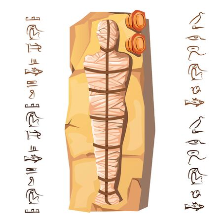Mummy creation cartoon vector illustration. Mummification process stage, embalming dead body, human corpse is wrapping with cloth linen, lying on stone next hieroglyphs Cult of dead from ancient Egypt