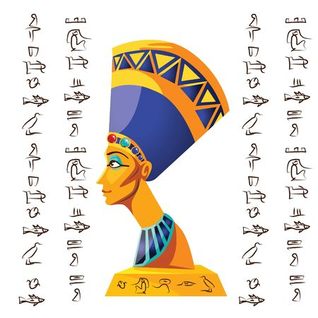 Ancient Egypt vector cartoon illustration. Egyptian culture symbol, statue of Nefertiti with hieroglyphs, isolated on white background