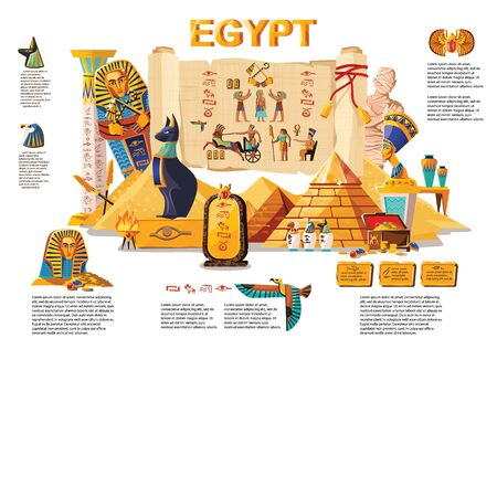 Ancient Egypt infographic cartoon vector travel concept. Papyrus scroll with hieroglyphs and Egyptian culture religious symbols, ancient gods, pyramids, pharaoh tomb, mummy, scarab and other landmarks Ilustração