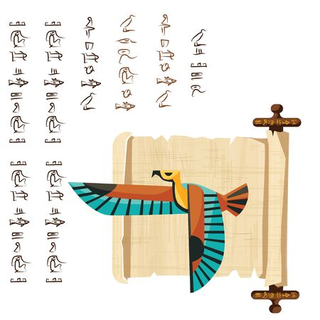 Ancient Egypt papyrus scroll with wooden rods cartoon vector illustration. Egyptian culture symbol, blank unfolded ancient paper with wooden sticks, flying falcon and hieroglyphs, isolated on white