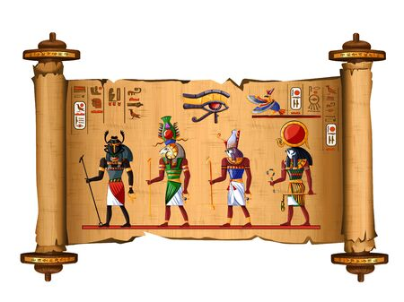 Ancient Egypt papyrus scroll cartoon vector with hieroglyphs and Egyptian culture religious symbols, Ra and Horus, falcons, sun gods, Khepri scarab, rising god and Khnum ram, keeper of Nile source.