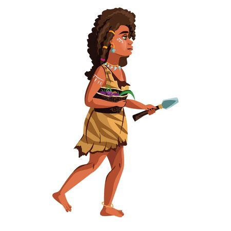 Ancient caveman woman vector cartoon illustration. Female character, hunter and gatherer of Stone Age, in clothes from animal skins with primitive work tool and basket for collecting plants in hands