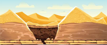 Desert landscape with golden sand dunes and dug pit in soil, cartoon vector illustration. Archeological excavations, treasures hunting concept. Empty space