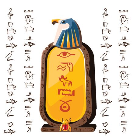Stone board or clay tablet with falcon head and Egyptian hieroglyphs cartoon vector illustration Ancient object for recording storing information, graphical user interface for game design on white