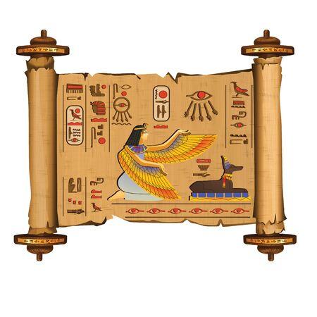 Rotolo di papiro dell'antico Egitto con aste di legno del fumetto con geroglifici e simboli religiosi della cultura egiziana, antiche divinità Iside e Anubi, isolati su priorità bassa bianca