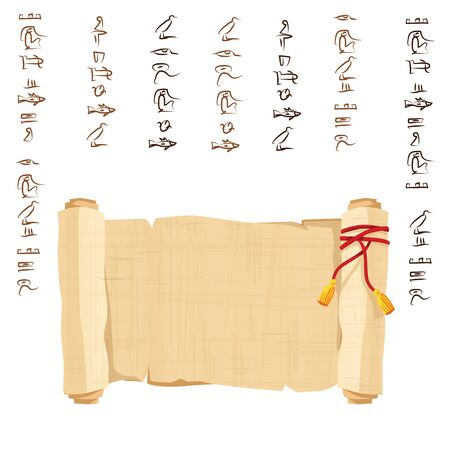 Ancient Egypt papyrus scroll decorated with red cord cartoon vector illustration. Egyptian culture symbol, unfolded blank ancient paper to store information, isolated on white background