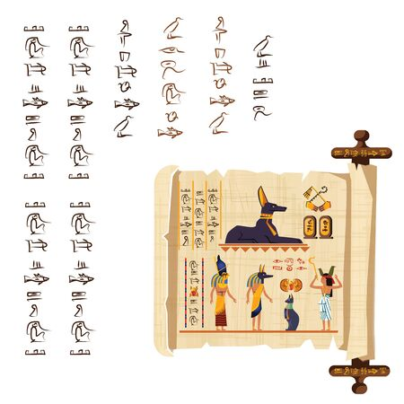 Ancient Egypt papyrus scroll with wooden rod cartoon vector. Ancient paper with hieroglyphs and Egyptian culture religious symbols, ancient gods, scarab and human figures, isolated on white background