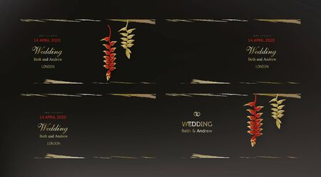 Tropical gold red heliconia plants on dark black background vector. Beautiful botanical vintage design with golden paint smear, tropic jungle exotic flower. Wedding invitation card, holiday sale