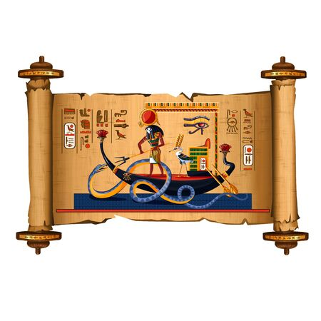 Ancient Egypt papyrus scroll cartoon vector with hieroglyphs and Egyptian culture religious symbols, Ra, sun god at night sails in boat on underground river and fights with chaos god serpent Apophis