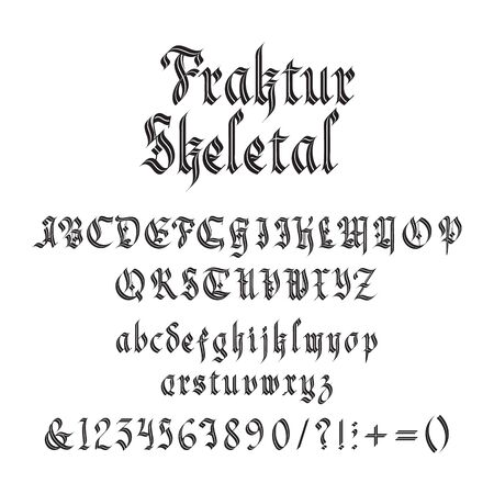 Vintage gothic font vector illustration. Set of unique decorative black capitals and lowercase calligraphic alphabet letters, numbers, symbols and signs on white for header or alcohol label design