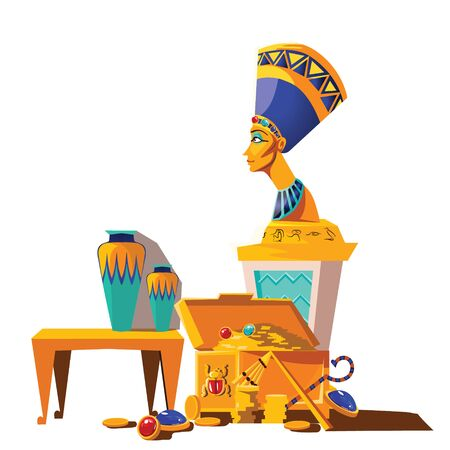 Ancient Egypt vector cartoon set. Egyptian culture symbols collection, statue of Nefertiti with hieroglyphs, sacrificial vase and treasure chest, gold coins and gemstones, isolated on white background