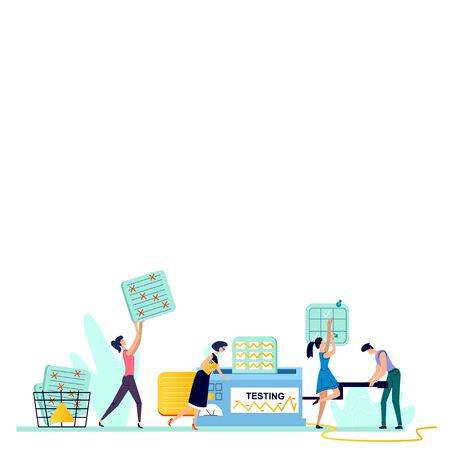 Testing process business concept vector illustration. Teamwork, man and woman, employees looking for solution to problem, rotate handle of mechanism and evaluate test results