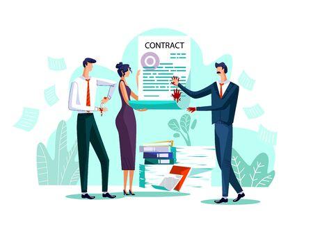 Vertragsabschluss Geschäftskonzept Vektor-Illustration. Geschäftsleute, die mit ihrem Blut einen Vertrag unterzeichnen, Männer stechen mit einem Messer in die Hände und hinterlassen blutige Handabdrücke auf einem Papierdokument