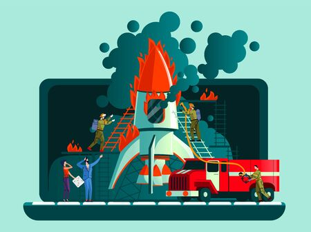 Rocket crash, failed start up, bad plan business concept vector illustration. Open laptop, rocket caught fire on takeoff and team workers and firefighters extinguish fire from hoses and red car Çizim