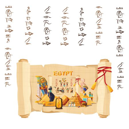 Ancient Egypt infographic cartoon vector travel concept. Papyrus scroll with hieroglyphs and Egyptian culture religious symbols, ancient gods, pyramids, pharaoh tomb, mummy, scarab and other landmarks Vettoriali