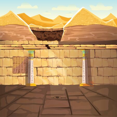 Ancient Egypth, lost looted tomb of pharaoh or abandoned temple interior, underground cartoon vector. Archeological excavations, treasures hunting concept. Desert, dug sand and sunbeam in empty crypt 일러스트