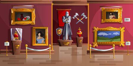 Illustrazione di vettore del fumetto della sala espositiva del museo. Interno del palazzo, galleria d'arte del castello medievale, sala vuota con ritratti antichi, statua dell'armatura del cavaliere e armi antiche sul muro, sfondo del gioco