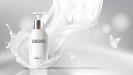 Milchkosmetik realistischer Vektor unscharfer Hintergrund. Hautpflegekosmetikprodukt, Körperlotion in weißer Flasche mit silbernem Spender in Milchspritzer, Krone mit fliegenden Schmetterlingen Mock-up-Werbeposter